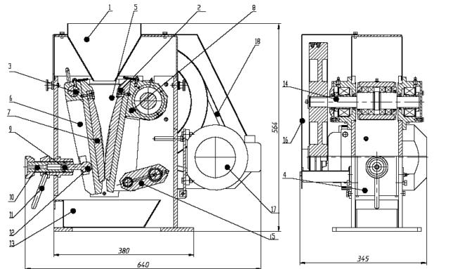 Дробилка щековая лабораторная ДЩ 60х100 схема