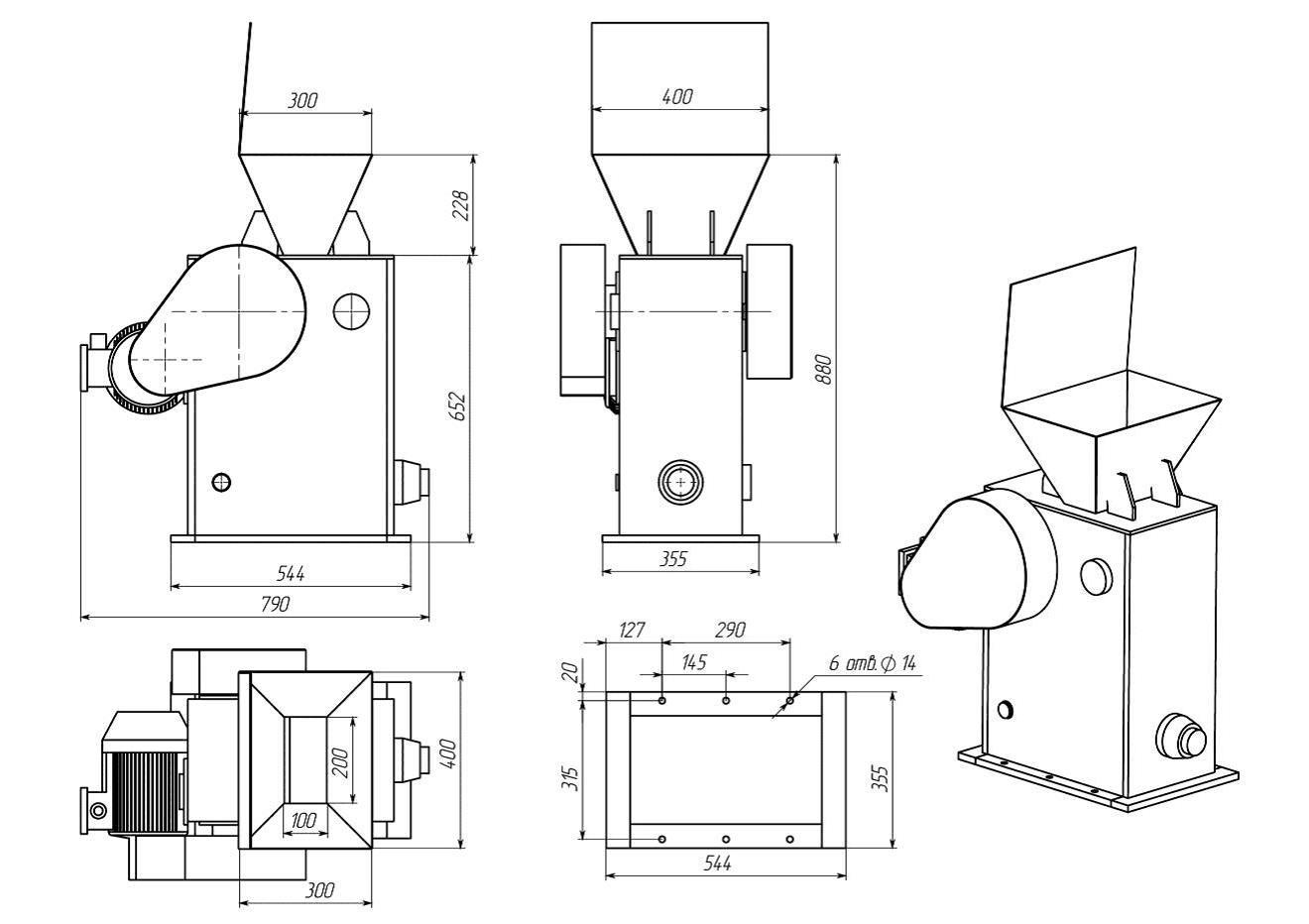 Габаритные размеры Щековой лабораторной дробилки ЩД 10