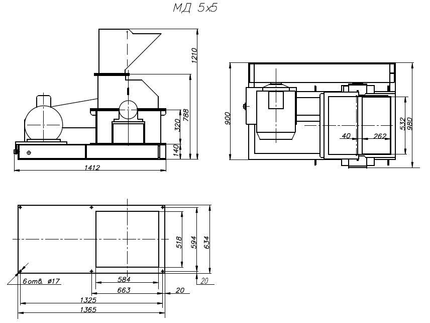 Молотковая дробилка МД 5х5