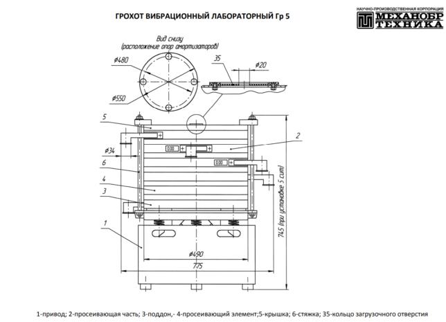 Схема устройства грохота вибрационного Гр 5