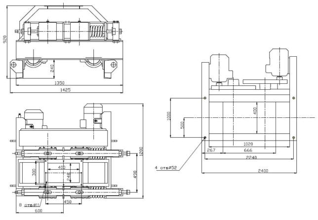 Дробилка валковая ДГ 400х250. Схема.