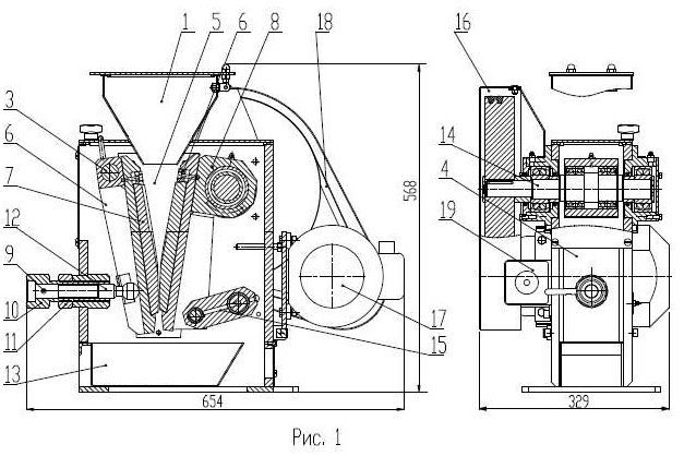 Дробилка щековая лабораторная ДЩ 60х100М (ДЩ 6М) схема