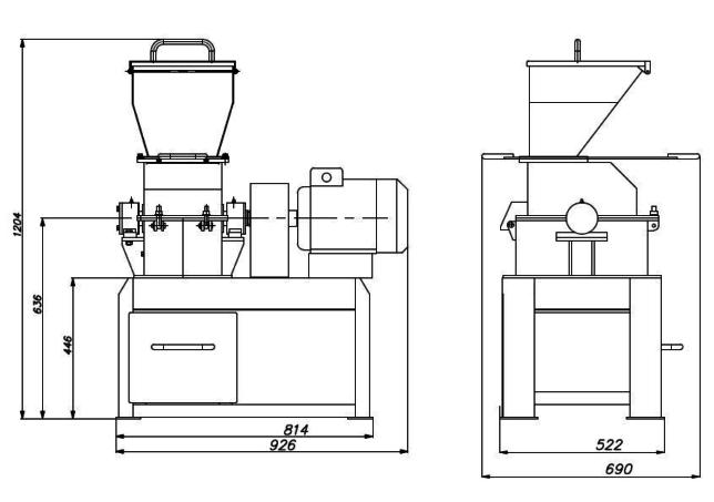 Дробилка молотковая МД 3х2С схема