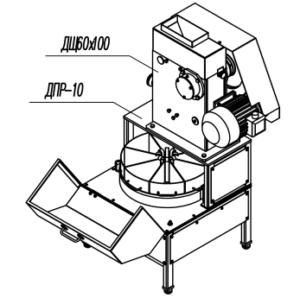 Делитель проб ротационный ДПР-10 с Щековой дробилкой